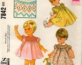 vintage 1965 toddlers DRESS mccalls sewing pattern 7842 size 6 MOS smocking raglan puff sleeves RETRO old fashioned