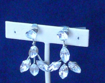 clear glass  bridal dangle clip earrings