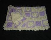 Handmade Baby Blanket Crochet Lavendar and White On Sale Now