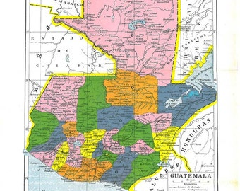 Vintage Map Guatemala Political Division 1920s Colorful