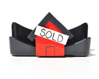 Realtor business card holder.  Real estate business.  Home sold.  Bling.  Custom
