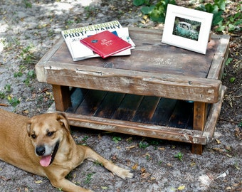 Rustic Coffee Table Made From Reclaimed Barn Boards, Beams, Flooring, and Hand Forged Nails. Custom Built Just For You