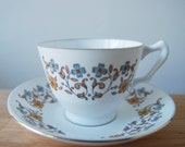 Royal Victoria Tea Cup and Saucer with 70s Floral Design