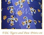 "3 yards 1.5"" Fleur de Lis Tigers and Paw Prints Ribbon"