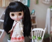 Miss yo hand-knitted winter short sweater coat for Blythe doll - doll outfit - White