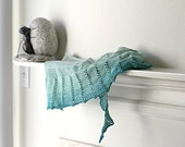 Knit shawl gradient color 100% cotton mint green teal - katerynaG