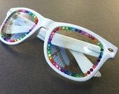 Rave light show glasses- white with rainbow rhinestones