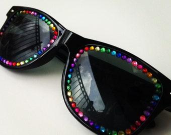 Sunglasses - black with rainbow rhinestones