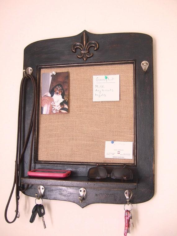 Vintage Style French Bulletin Board with Fleur de Lis, Key Hooks and Shelf