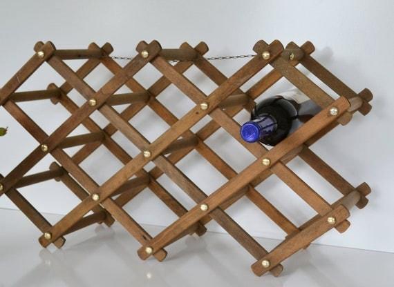 Vintage Wooden Wine Rack Accordian Wooden Wine Storage Rack