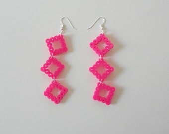 Hot Pink Retro Squares Perler Bead Earrings