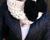 Bow Cowl- infinity scarf- crochet bow neck warmer-