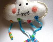 "Cloud wall hanging, white kawaii mobile LOVE  freehand embroidery rainbow love 6,5"" x 15"""
