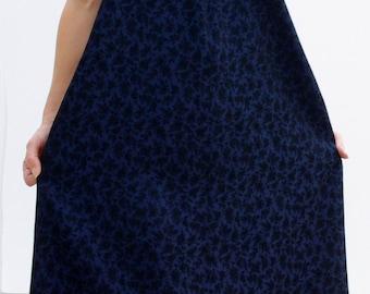 Evening Dress with matching Bolero, Midnight Blue Corsage Dress, Black Rose Print Evening Ensemble