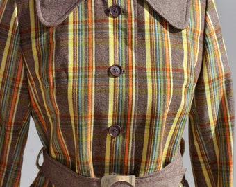 Striped Vintage Jacket, Wool Jacket, Brown Orange and Yellow striped Jacket, Vintage Jacket