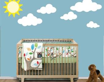 Reusable Clouds Sun Wall Decal, Clouds FABRIC Decal, Reusable Decal, Nontoxic NO PVCs Ecofriendly Fabric Decal - 316