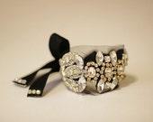 Vintage Swarovski Crystal Cuff with Black Ribbon Tie