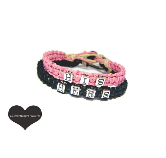 His Hers Bracelets for couples, Couples Bracelets, Pink Black, Hemp Bracelets, Sterling Silver, Gift for Couples, Anniversary Gift Ideas