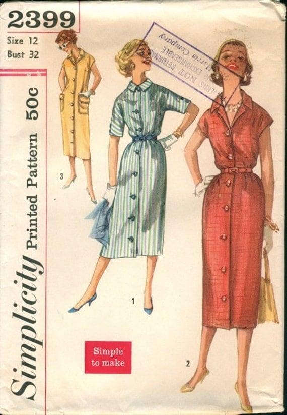Super Uncut 1957 Simplicity 2399 Slim Shirt-Dress 3 Versions Sewing Pattern Bust 32