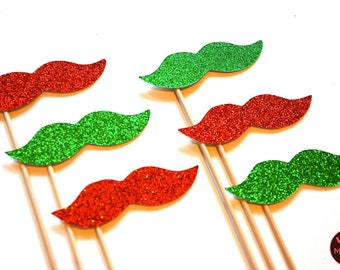 Photo Booth Props  - Christmas Glitter Mustaches on a Stick - Set of 6 - Red and Green Christmas Props - funny Christmas card