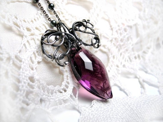 Wire wrapped Silver Necklace - Swarovski Crystal Marquise Arrow - Amethyst Purple Violet - Gothic Victorian Elegant - Dramatic Necklace