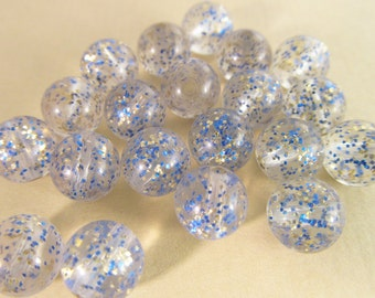 60 Vintage 7mm Clear Blue and Silver Glitter Round Lucite Beads Bd385