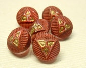 Tiny Glass Buttons, 7 mm Copper Luster, Antique Buttons, Doll Buttons, Vintage Dimi, Matching Set