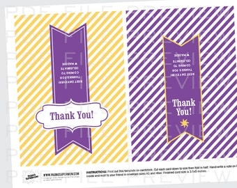 Thank You Notes for a Rapunzel Tangled Birthday Party Printable Cards - INSTANT DOWNLOAD