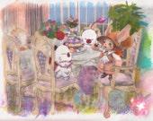8.5x11 Print Final Fantasy Moogle Tea Party