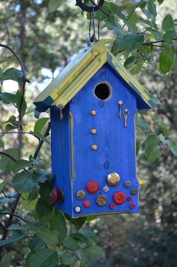 Decorative Bird House Vintage Buttons Home Living
