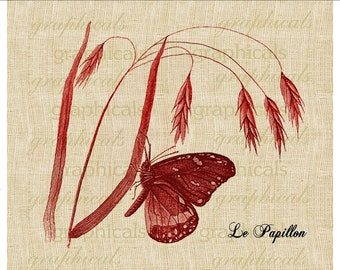Buttterfly instant clip art Red wheat Le Papillon Digital download image for fabric transfer paper burlap tote pillow decoupage No. 428