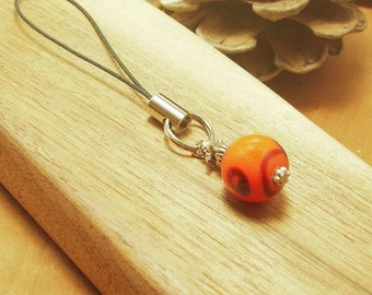 Vintage Lampwork Beaded Cell Phone Charm