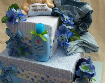 Baby Boy Diaper cake - Two Tier fondant style Diaper Cake - made to order
