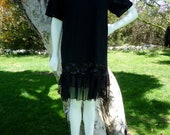 Vintage Early '90s CONTEMPO CASUALS FROCK Black T Shirt Dress w/ Silk Chiffon Ruffle and Sequins