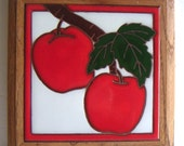 Vintage Tile,Handpainted Ceramic Tile,Wall Hanging,Kitchen,Home Decor,Red Cherries