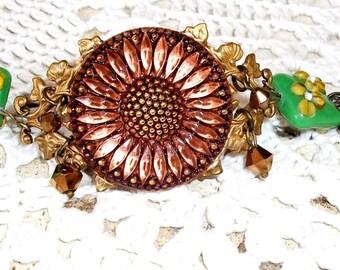 "BOHO Glass Flower Bracelet, HANDMADE, Brown,Green & Yellow Vintage Lampwork Beads, Large Czech Flower Button ""Pocketful of Posies"" OOOAK"