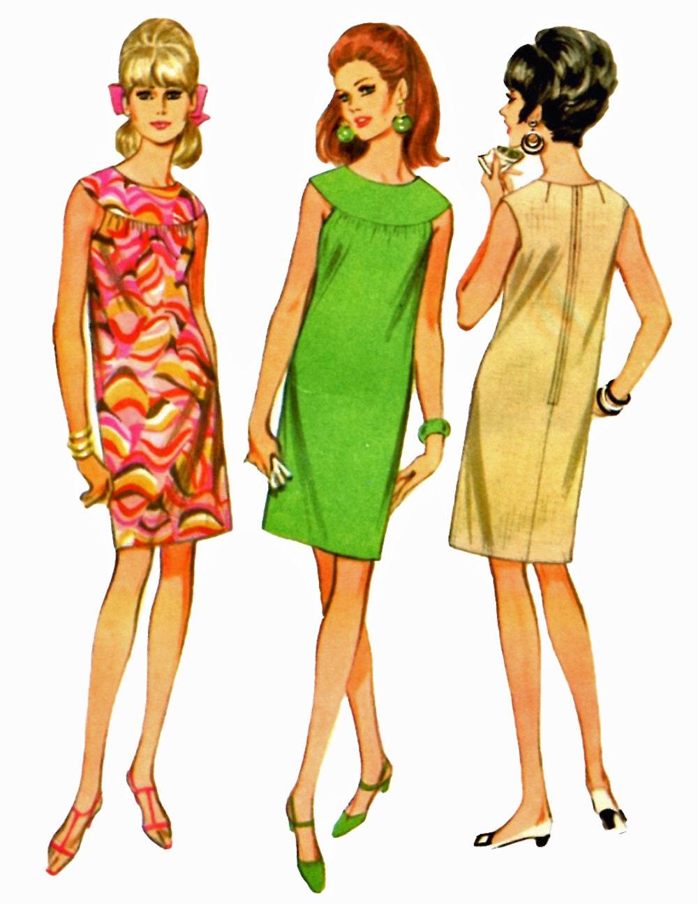 Mccalls 8824 1960s sleeveless shift dress sewing by retromonkeys