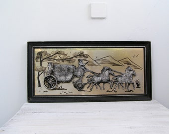 Victorian Carriage Wall Art, Antique carriage with horses, Vintage wall art, English cottage, Gift for man, black, Christmas gift