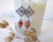 Antique Silver Earrings - Diamond Filigree with Orange Glass Beads