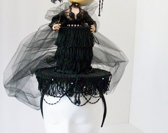 OOAK Vintage Bradley Doll Feather Fringe and Tulle Headband Fascinator