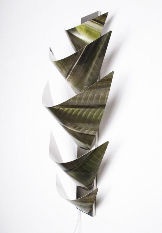 Green Metal Wall Lights : Green Metal Wall Sculpture Metal Wall Art Accent Lamp Sconce