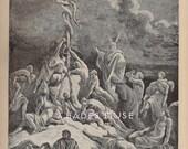Brazen Serpent-Slithering Snake-Cross-Bible-Moses-Devil-Satan-Lucifer-Suffering-1879 Antique Vintage Art PRINT-Ephemera-Engraving-Gothic