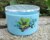 1980s Blue Flower Plastic Trinket Holder