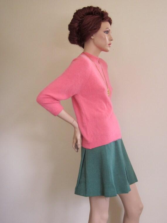 60s Mini Skirt / 60s Skirt / Dalton / Wool Skirt / Pleated Skirt / Green / Cheerleader / Preppy Skirt / College / Collegiate / Mad Men