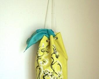 Vintage Yellow Canvas Drawstring Tote bag