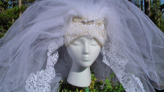 Vintage Cathedral Veil  LONG Wedding Veil With Faux Pearl Embelished Headpiece