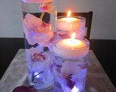 White Pink Orchid Floating Candle Wedding Centerpiece kit LED Tealight