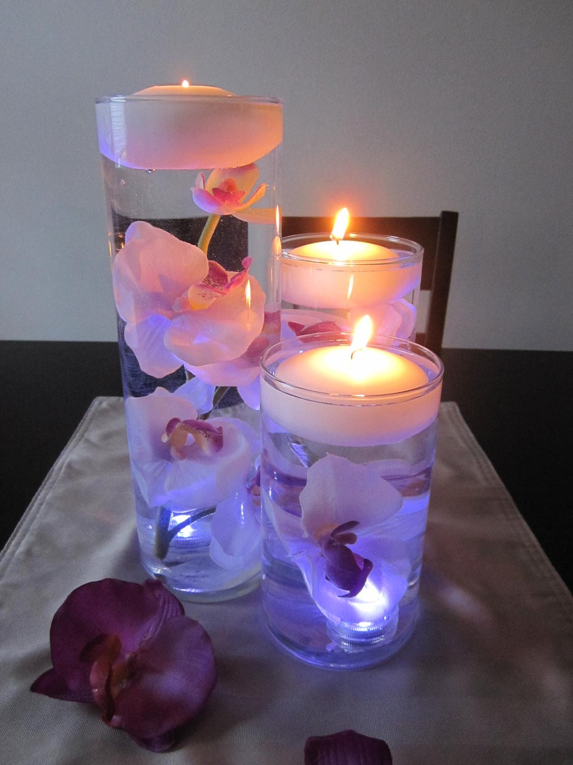 White pink orchid floating candle wedding centerpiece kit led