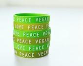 LOVE PEACE VEGAN : Greenish Set of Wristbands (Pack of 3)