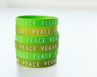 LOVE PEACE VEGAN : Greenish Set of Wristbands (Pack of 3)